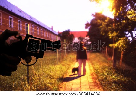 armed robbery in the night - stock photo