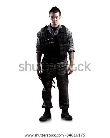 armed soldier isolated on a white background - stock photo