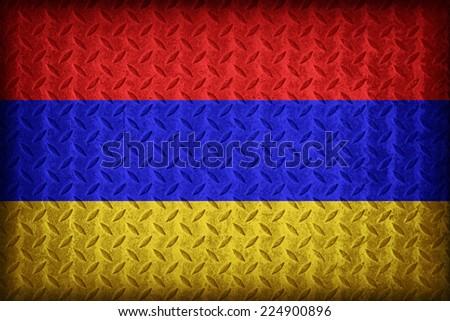 Armenia flag pattern on the diamond metal plate texture ,vintage style - stock photo