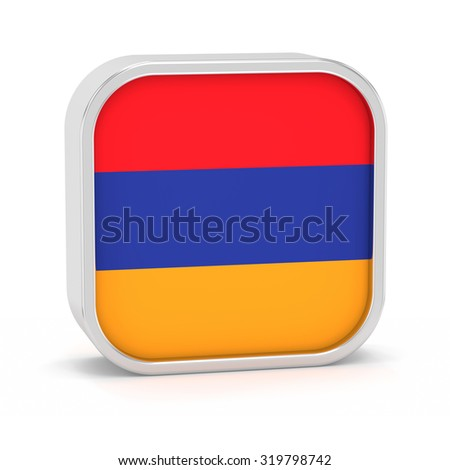 Armenia flag sign on a white background. Part of a series. - stock photo
