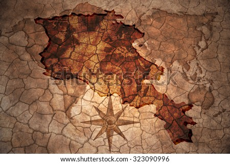 armenia map on vintage crack paper background - stock photo