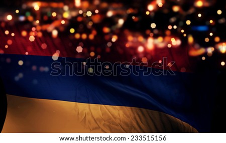 Armenia National Flag Light Night Bokeh Abstract Background - stock photo