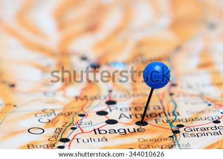 Armenia pinned on a map of America  - stock photo