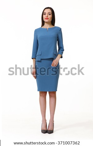 armenian asian eastern brunette business executive woman with straight hair style in blue dress high heels shoes full length body portrait standing isolated on white - stock photo