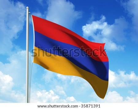 armenian flag in blue sky background - 3d rendered image