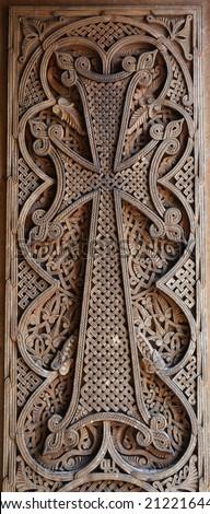 Armenian medieval cross stone - stock photo