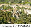 Armenian orthodox church of St. Ripsime, one of arhictecture and historical landmarks in town Yalta, famous resort in region Crimea on Black sea in Ukraine. - stock photo