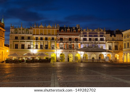 Armenian tenement houses in the Great Market square in Zamosc, Poland.