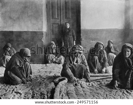 Armenian women make quilts in Alexandropol. Ca. 1915-22. Alexandropol was the second largest city in the post WW1 Armenia territory.