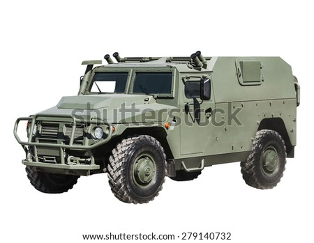 Armored Car isolated on a white background. Russian military equipment. - stock photo