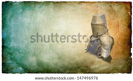 Armored knight in helmet with shield - retro postcard on landscape vintage paper background - stock photo