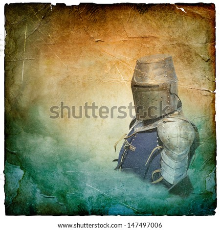 Armored knight in helmet with shield - retro postcard on square vintage paper background - stock photo