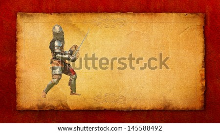 Armored knight with sword and shield - retro postcard on vintage paper background