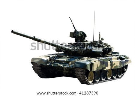 armored tank over white background