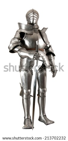 Armour of the medieval knight. Metal protection of the soldier against the weapon of the opponent - stock photo