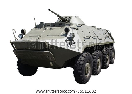 Armoured troop-carrier wheeled and isolated - stock photo