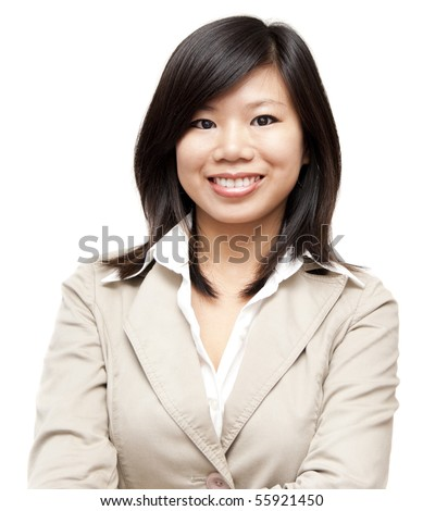 Arms crossed Asian Educational / Business woman on white background - stock photo