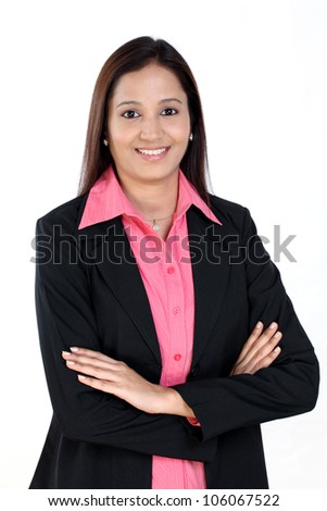 Arms crossed Indian Business woman - stock photo