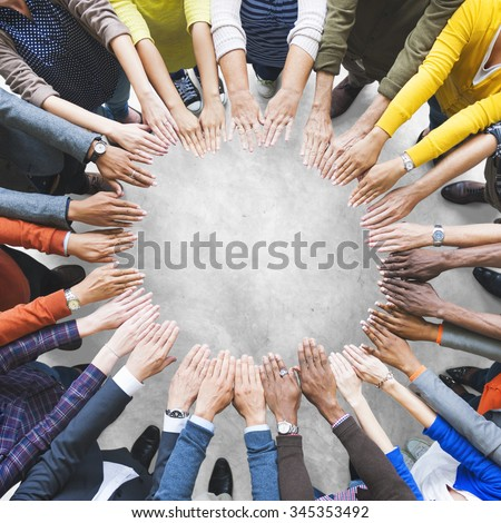 Arms Hands Circle Team Unity Variation Group Diverse Concept - stock photo