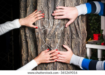 Arms holding together on the tree with heart sign - stock photo