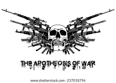 arms illustration wings the ApotHEOSis of War white black guns blazon sign old bones isolated weapon abstract gothic emblen armour tattoo graphic design pistol vintage tiara banner shield crest - stock photo
