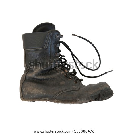 Army boot isolated on white, sole almost completely gone - stock photo