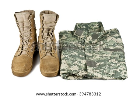 army boots and combat shirt isolated on white background - stock photo