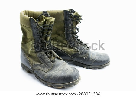 Army boots isolated on white background - stock photo