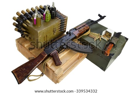 army box of ammunition with AK rifle and ammunition isolated - stock photo