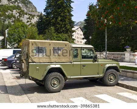 Army car parked