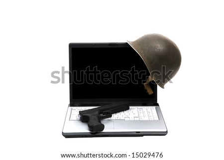 army helmet and gun on a laptop white background