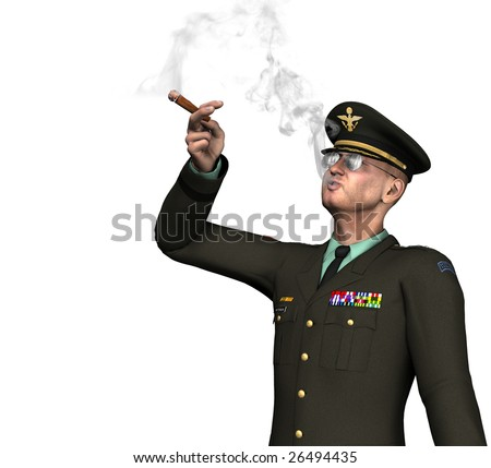 Army officer / general smoking a cigar