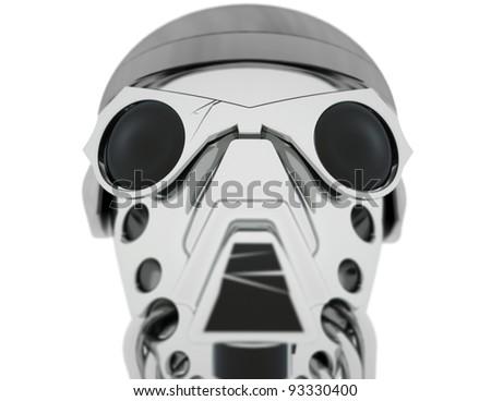 Army robot's head. - stock photo