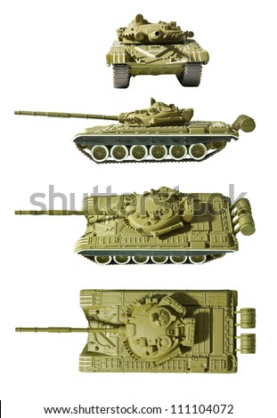 Army tank isolated with clipping path - stock photo