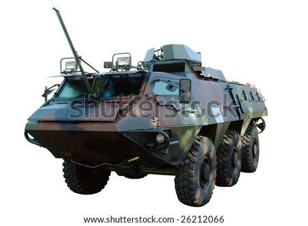 Army truck isolated on white. Clipping path included