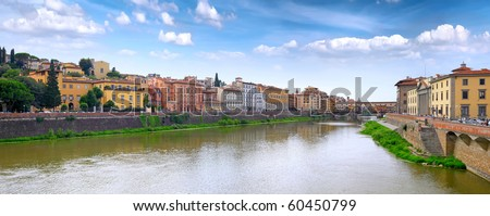 Arno river in Florence (Firenze), Tuscany, Italy. Panorama - stock photo