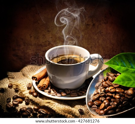 Aroma And Taste In Traditional Coffee Cap  - stock photo