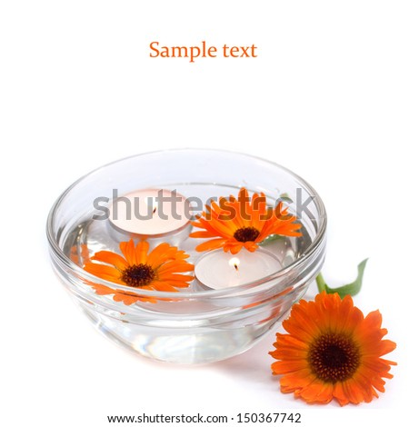 Aroma Bowl with Candles and Flowers - stock photo