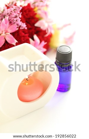 Aroma candle and flower for beauty and healthy background image
