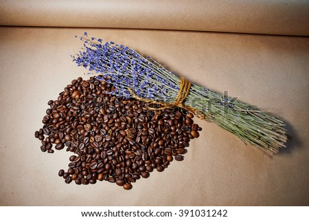 Aroma coffee beans with lavender  - stock photo
