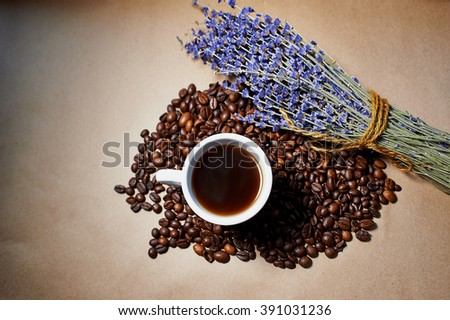 Aroma coffee cup with lavender  - stock photo