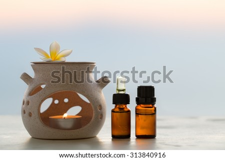 Aroma lamp and aromatherapy essential oils - stock photo