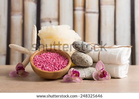 Aroma spa set on  wooden table  - stock photo