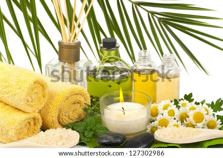 Aromatherapy and massage oils  in a spa - stock photo
