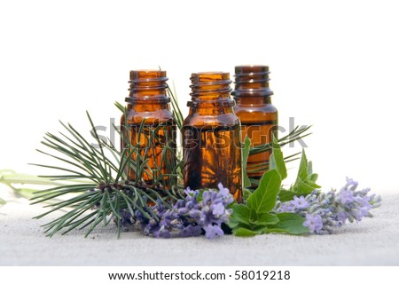 Aromatherapy Aroma Scented Oil in Glass Bottles with Lavender, Pine and Mint - stock photo