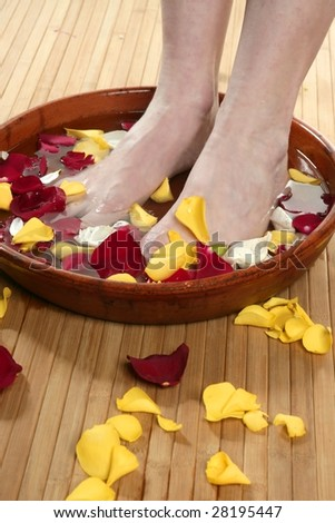 Aromatherapy, flowers woman feet bath, colorful rose petal