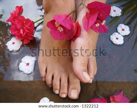 Aromatherapy Foot Bath. - stock photo