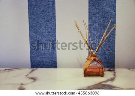 Aromatherapy oils on table - stock photo