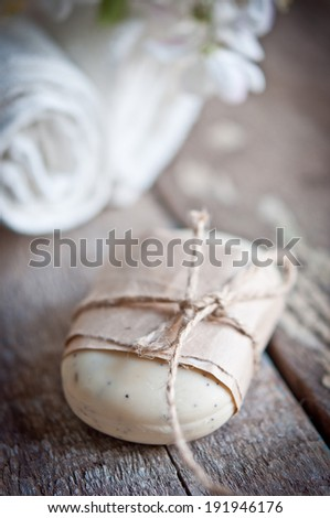 Aromatherapy SPA set over wooden background
