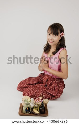 Aromatherapy with natural wisdom, Thailand: Essential oils (ginger) Treatment, health and relaxation. - stock photo